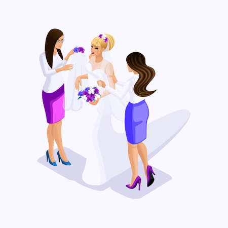 Isometrics sellers help the bride to dress for fitting wedding dress, wedding clothes, vector illustration.