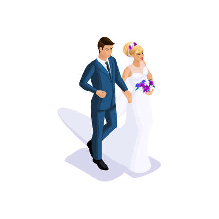 Isometrics of the groom and the bride are going to get married on the arm, the bride in a beautiful dress with a bouquet of flowers, the groom in a suit.