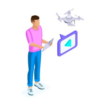 若い男のアイソメトリックは、ドローンクアドロコプター、写真やビデオ録画ゲームを取るカメラでリモート空中ドローンでビデオを撮影します。ベクターの図。