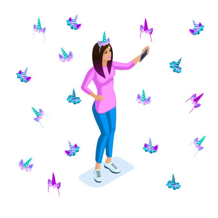 Isometric girl beauty hair ombre, teenager, generation of Z, bright colors of clothes and hair, colorful, rainbow, many accessories of unicorns, horns, modern design.