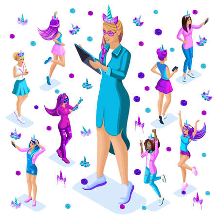 Isometry of a large girl against the background of small teenagers, a generation of Z, bright colors of clothes and hair, colorful, rainbow, unicorns, cake party set 7. Vectores