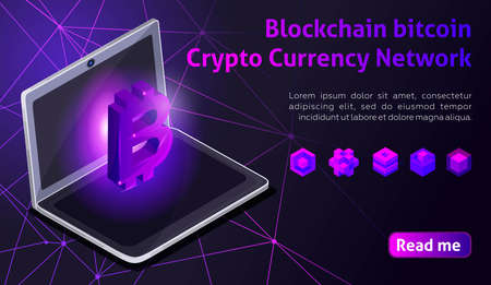 Isometry icon Blockchain bitcoin Crypto Currency Network, analysts and managers working on crypto start up, laptop, computer, colorful background.