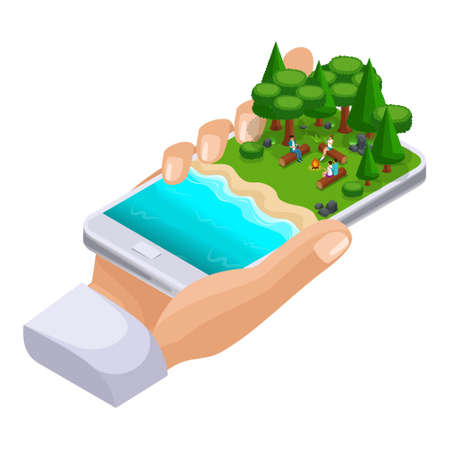 Isometric concept of outdoor recreation, shore of the lake, friends vacation on weekends, bbq, nature, forest, bonfire.