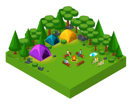 Isometric landscape of rest, friends at the weekend at the camping site, tents, people by the fire, fresh air, picnic, day off, active rest.