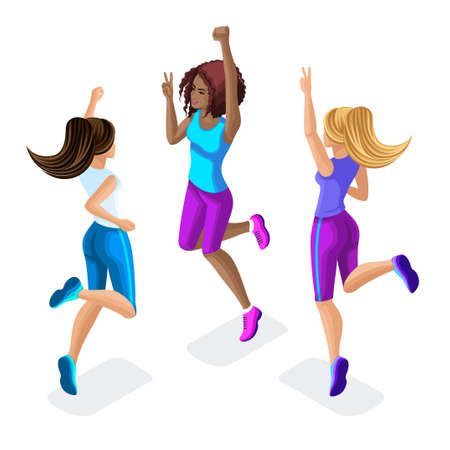Isometric of a girl friend, fitness jumping, running around, front and back view, beautiful hairstyles for sports, clothes and sneakers set 5. Vectores