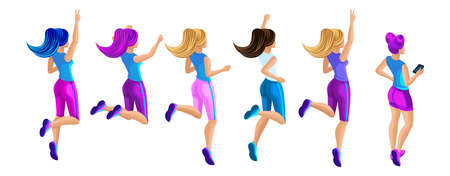 Isometric a large set of girls in sportswear, jump, run, rejoice, rear view, tail hair, comfortable running jumps.