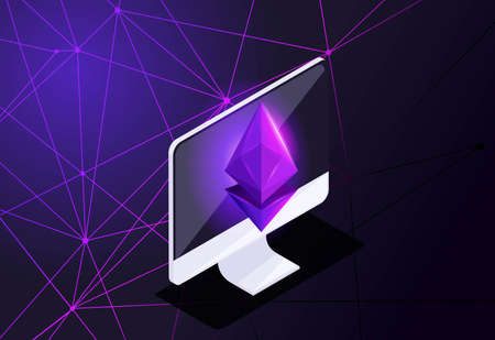 Isometric holographic Icon, Ethereum crisis concept with Ether symbol, crypto currency, space, new virtual money.