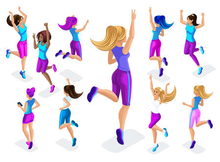 Isometric of a big girl athlete against a background of small, fitness jumping, running around, front and back view, colorful clothes and sneakers playing sports set 8. Vettoriali