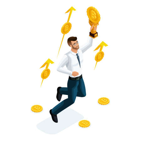 Isometric businessman, investor, financial market player, earned money invested in Ethereum Crypto Currency, ICO, Bitcoin. Ilustração