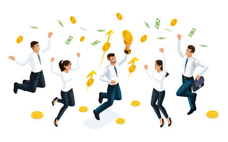 Isometric businessmen jump and enjoy the big money that is served from the sky. The concept of making money. Vector illustration of a financial investor.