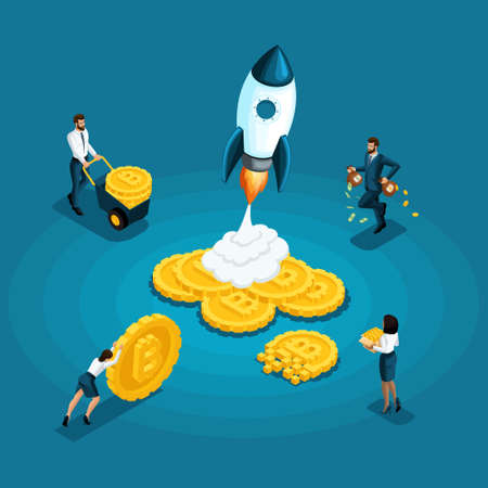 Isometric bitcoins, ico blockchain concept, cryptocurrency mining, startup project isolated, employer pushes the money earns.
