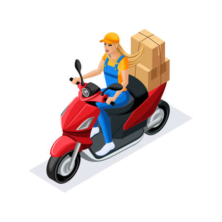Isometric delivery of the order by the delivery service on the scooter. Girl in uniform, carries orders in corton boxes. Fast delivery van. Delivery man