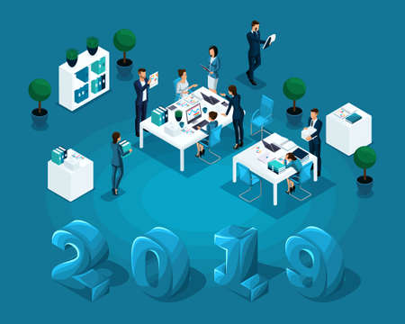 Isometric business concept office work, accounting, business day, auditor, illustration for calendar 2019.