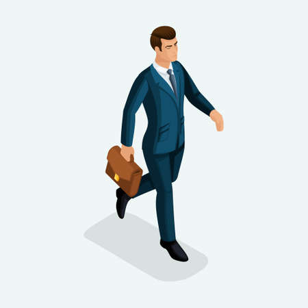 Isometric of a young businessman goes forward, the business talks on phone and tablet. The emotional gestures of the people.
