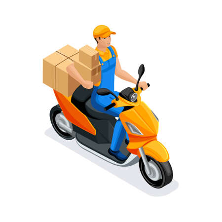 Isometric delivery of the order by the delivery service on the scooter. A man in uniform, carrying orders in corton boxes. Fast delivery van. Delivery man. Standard-Bild - 113544370