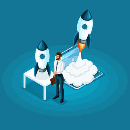 Isometric businessman stands with ico startup project rocket launch into the sky, the concept of business development.