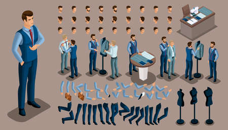 Isometric vintage background, a tailor man, a set of gestures of hands and feet, hairstyles, emotions to create your character. Set of tailors for sewing workshop set 4. Фото со стока