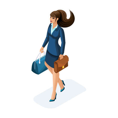 Isometric of a beautiful woman on a business trip, comes with her luggage. Elegant business suit. Traveling business lady.