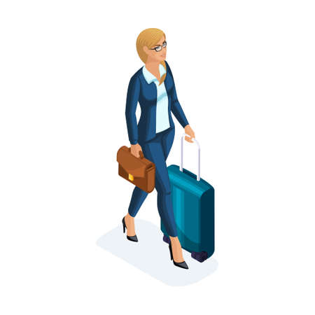 Isometric of a beautiful woman on a business trip, comes with her luggage at the airport. A beautiful business suit. Traveling business lady. Stock Photo