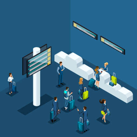 Isometric concept of passport control at the airport, delivery of things to the luggage compartment, business ladies and businessmen on a business trip.
