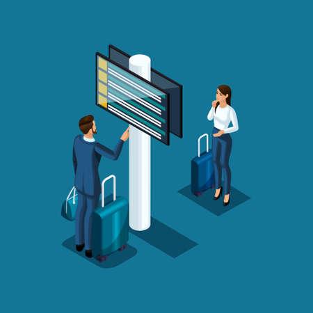 Los pasajeros del aeropuerto isométrico miran el horario de vuelo y el plan de control de pasaportes, ilustración vectorial. Ilustración de vector