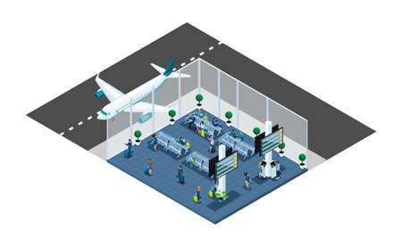 Isometric est un grand hall d'aéroport, une salle d'attente, une zone de transaction, les passagers attendent l'embarquement avec un bagage, un voyage d'affaires, un avion fenêtre. Vecteurs