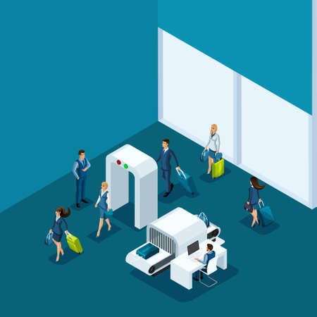 Isometric concept of passing baggage inspection at the entrance to the airport building, business ladies and businessmen on a business trip.