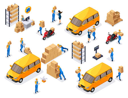 Isometric delivery service, couriers, warehouse workers, round-the-clock work, a large set of symbols and concepts for creating vector illustrations.