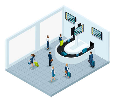Isometric baggage claim hall after flight, international airport, business ladies and businessmen on a business trip, passengers with luggage leave to the city.