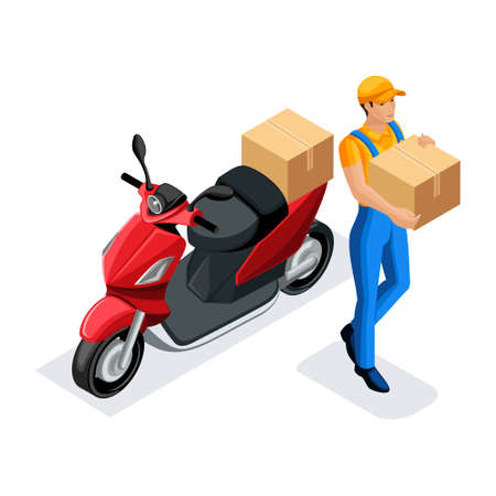 Isometric delivery service courier on the scooter fast delivery, urgent delivery of orders round the clock work, the courier bears the parcel.