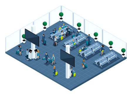 Isometric of a large airport hall, waiting room, a transaction zone, landlings waiting for landing on a plane with a god, business trip. Ilustração