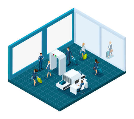 Isometric airport passengers with luggage, pass inspection of things at the entrance to the building, airport employees are working. Vector illustration emotional characters.