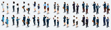 Isometric large set of businessmen and business woman, front view and rear view, vector illustration. Иллюстрация