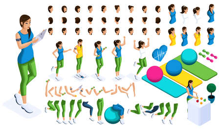 Isometrics create your sports girl, a large set of emotions, hand gestures and foot movements. To create your character. Ilustração