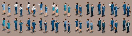 Grande insieme isometrico di uomini d'affari e donna d'affari, vista frontale e posteriore, illustrazione vettoriale di sfondo vintage. Vettoriali
