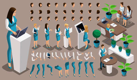Isometric vintage background, bank worker girl, a set of gestures of hands and feet, hairstyles, emotions to create your character. Create your manager set 3.
