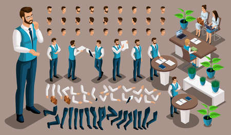 Isometric vintage background, male bank worker, set of gestures of hands and feet, hairstyles, emotions create your character. Create your own manager 4. Illustration