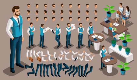 Isometric vintage background, male bank worker, set of gestures of hands and feet, hairstyles, emotions create your character. Create your own manager 6.