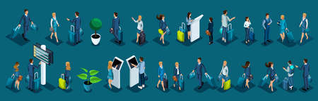 Isometric large set of international airport passengers, business ladies and businessmen on a business trip, passengers with luggage.