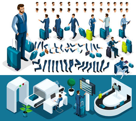 Isometric set 4 create your character, businessman at the airport. Set of gestures of hands, feet, emotions of the character, a set of different hairstyles. Vettoriali