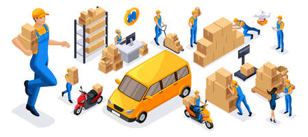 Isometric set of 4 service delivery icons, couriers carry orders, ride on official vehicles, scooter, car, drone quadrocopter, fast delivery.