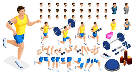 Isometrics create your sporty inflated man, a set of hairstyles, emotions, hands, feet. Without, gym, jumping. Sports equipment for creative set 1. Ilustração