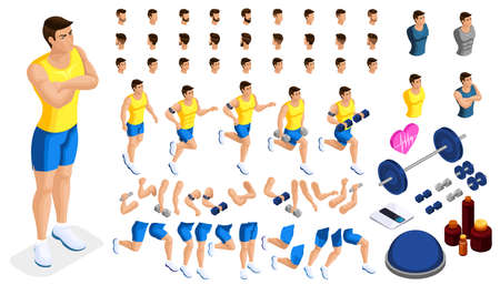 Isometrics create your sporty inflated man, a set of hairstyles, emotions, hands, feet. Sports equipment for creative set 1.