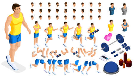 Isometrics create your sporty inflated man, a set of hairstyles, emotions, hands, feet. Sports equipment for creative set 2.