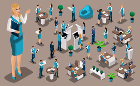 Isometric set 3, bank icons with bank employees, woman bank worker, customer service manager. Financial structure, banking business. Illustration