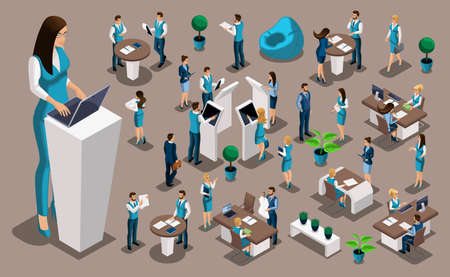 Isometric set 4, bank icons with bank employees, woman bank worker, customer service manager. Financial structure, banking business.