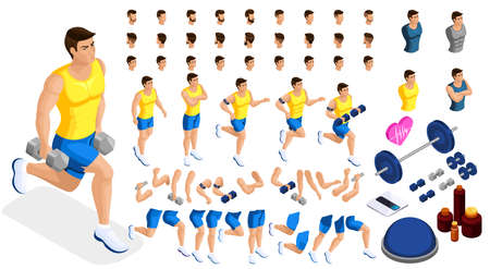 Isometrics create your sporty inflated man, a set of hairstyles, emotions, hands, feet. Without, gym, jumping. Sports equipment for creative set 4.