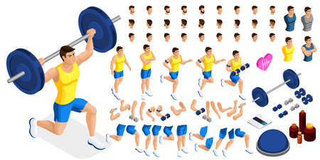 Isometrics create your sporty inflated man, a set of hairstyles, emotions, hands, feet. Without, gym, jumping. Sports equipment for creative set 5. Illustration