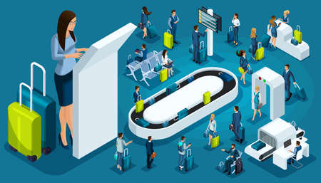 Ensemble isométrique 2, icônes de l'aéroport international, passagers avec bagages, grande femme d'affaires en voyage d'affaires, zone de transit, compagnies aériennes.