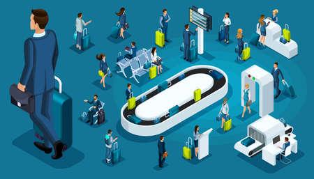 Isometric set 1, international airport icons, passengers with luggage, big businessman on a business trip, transit zone, air lines. Ilustração